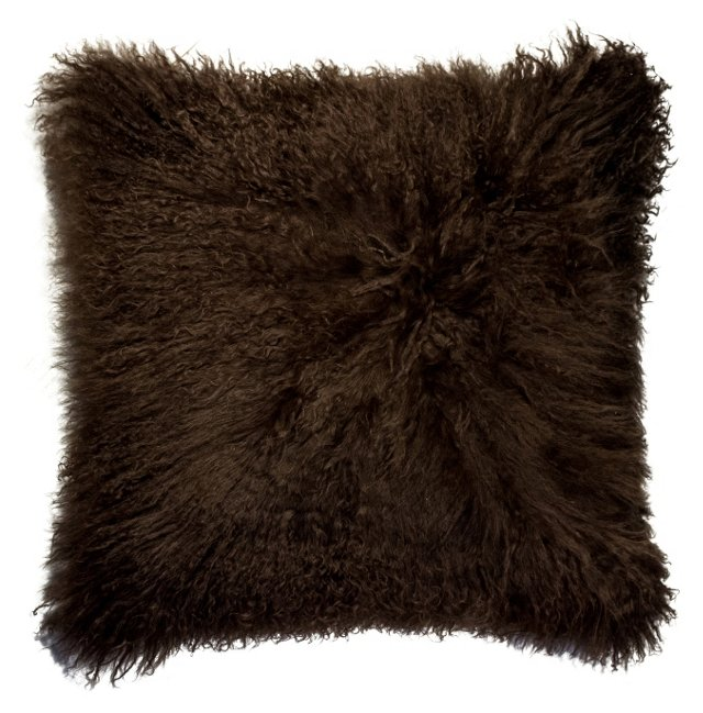 Mongolian 18x18 Pillow, Chocolate