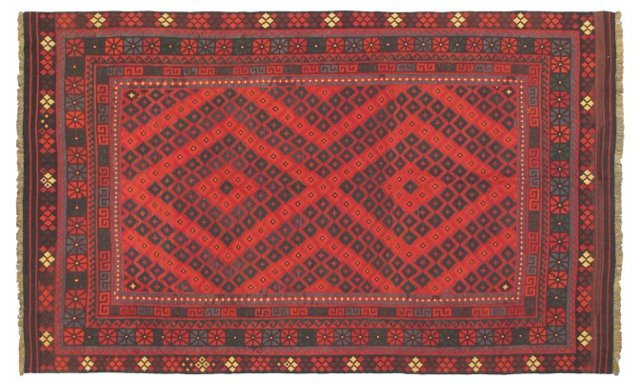 "8'1""x13'5"" Camuf Kilim, Dark Red"