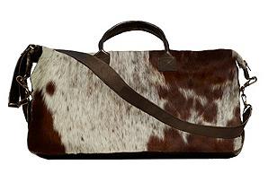 Haircalf Duffel Bag, Brown/White