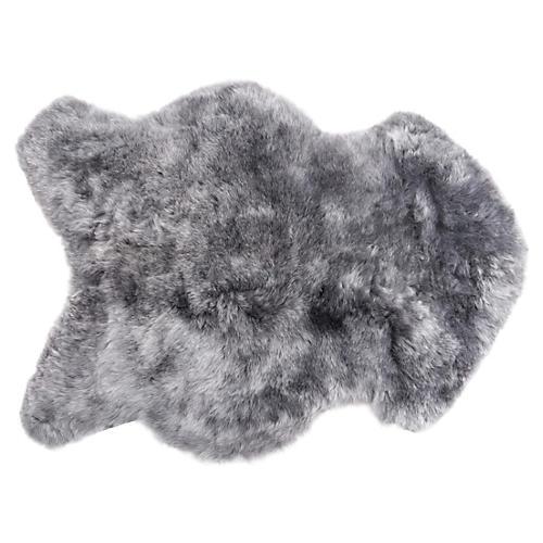 2'x3' Icelandic Sheepskin Rug, Gray