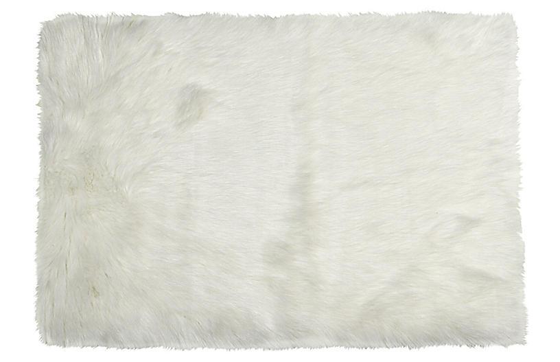 2'x3' Hudson Faux Sheepskin Rug, Ivory