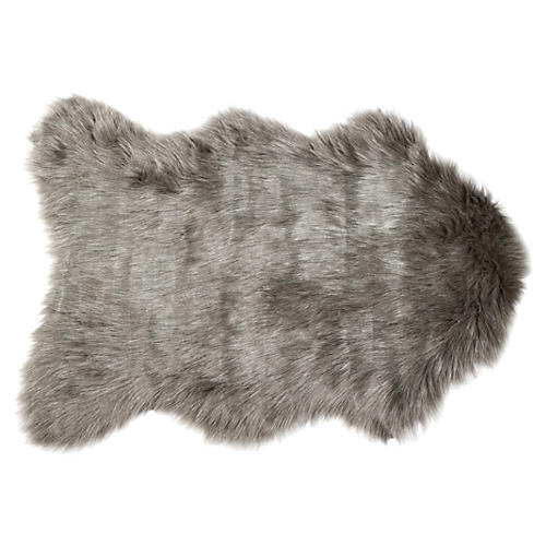 2'x3' Gordon Faux-Sheepskin Rug, Gray