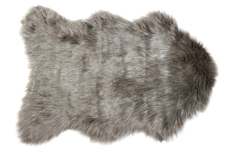 2'x3' Gordon Faux-Sheepskin Rug, Gray