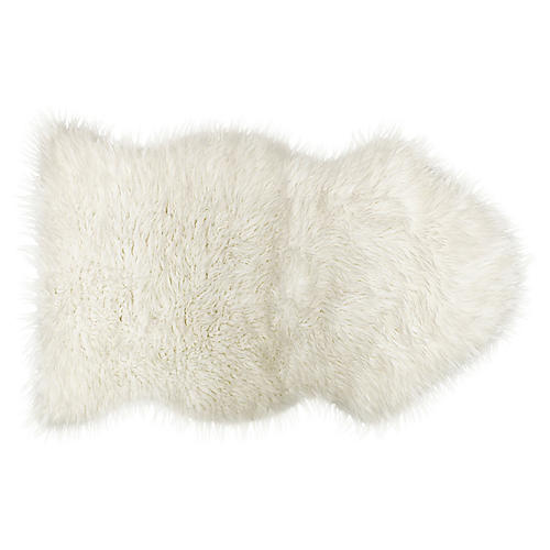 2'x3' Gordon Faux Sheepskin Rug, White