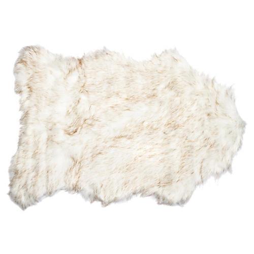 2'x3' Gordon Faux-Sheepskin Rug, Gradient Tan