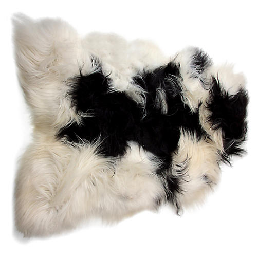 2'x3' Icelandic Sheepskin, White/Black