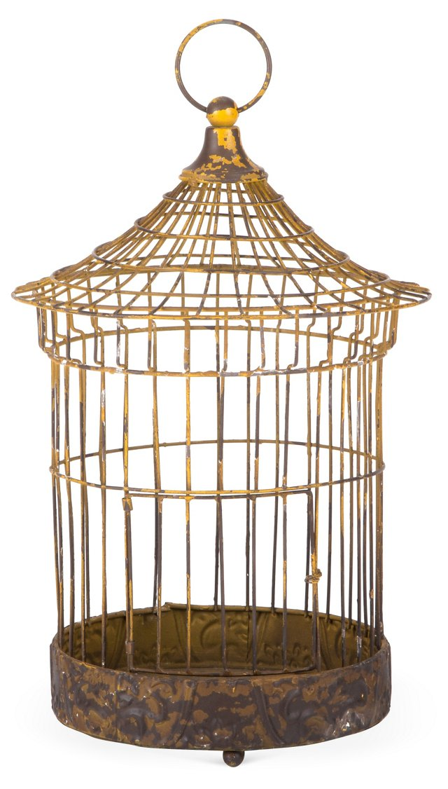 "16"" Iron Birdcage, Yellow"