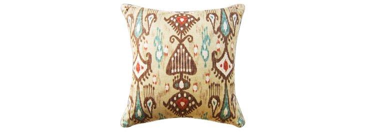 Khanjali 22x22 Cotton Pillow, Adobe
