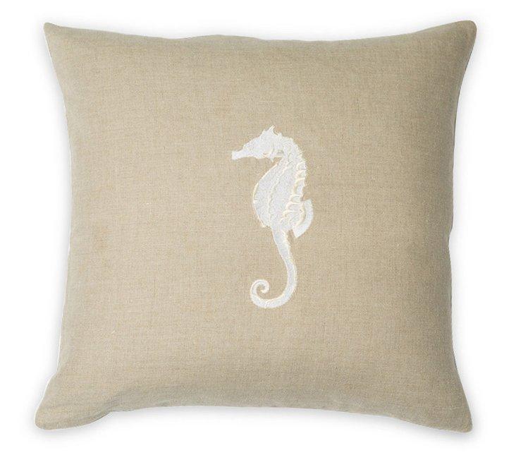 Seahorse 22x22 Linen Pillow, Natural