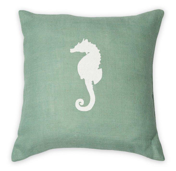 Seahorse 22x22 Embroidered Pillow, Aqua