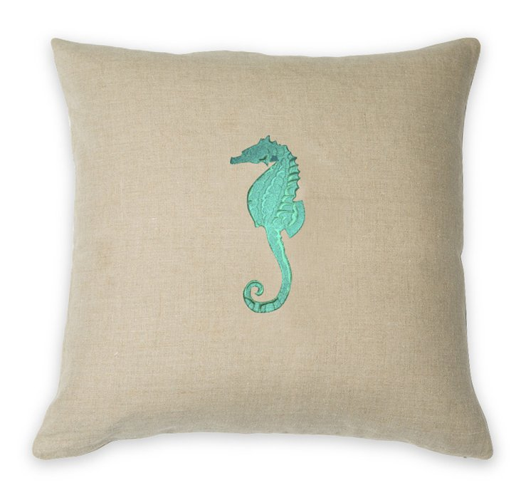 Seahorse 22x22 Pillow, Natural