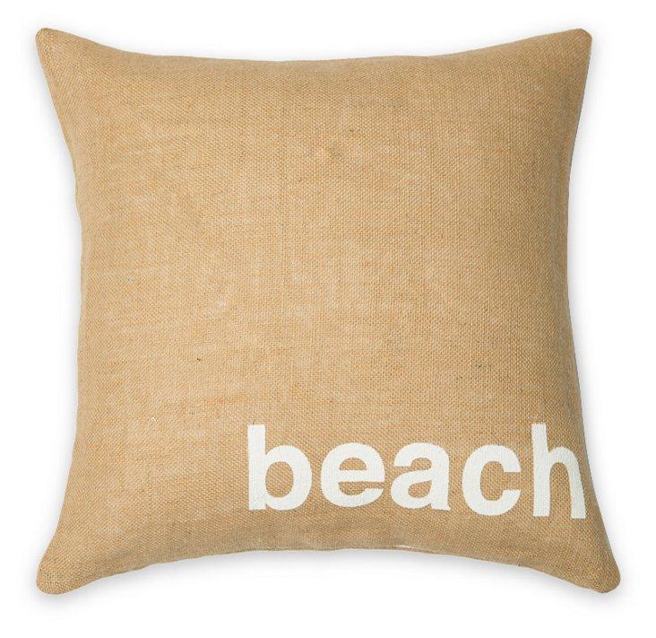Beach 20x20 Burlap Pillow, Natural