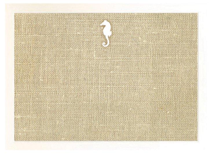 Seahorse Burlap Bulletin Board, White