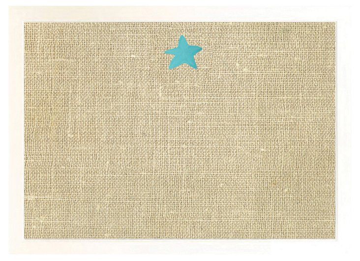 Starfish Burlap Bulletin Board, Aqua