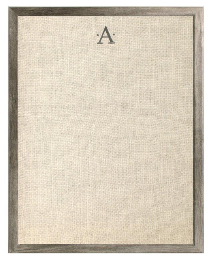 Monogramed Bulletin Board, Charcoal
