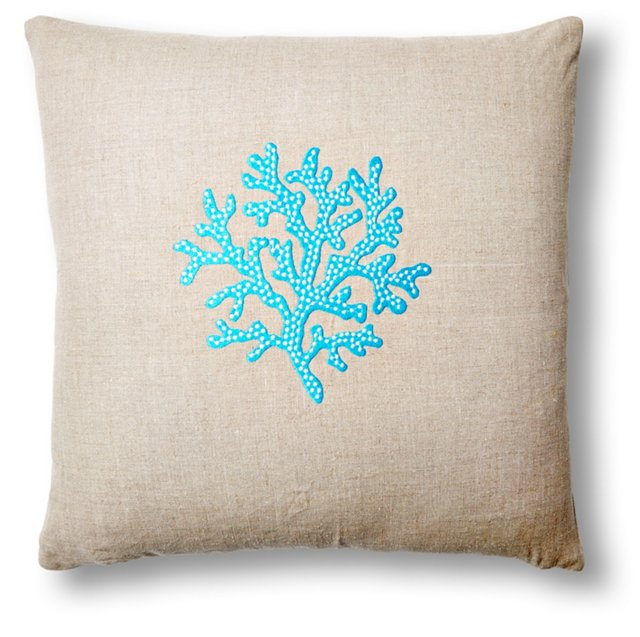 Coral 22x22 Embroidered Pillow, Natural