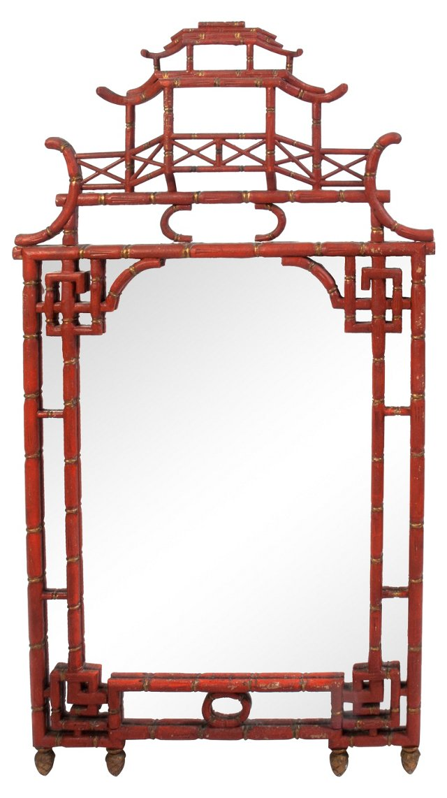 Large Chinoiserie Wall Mirror