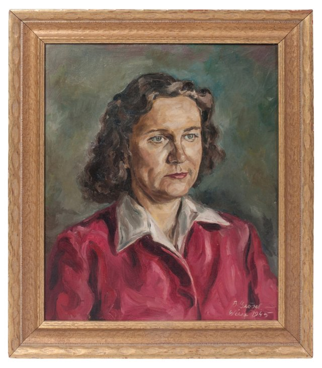 1940s Oil Painting, Lady