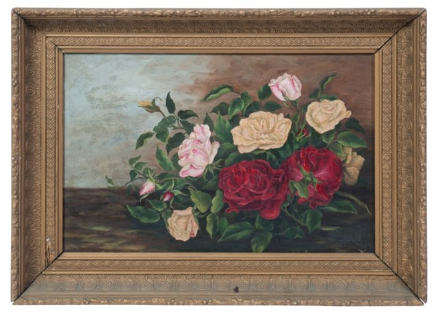 Oil Painting, Victorian Roses IV