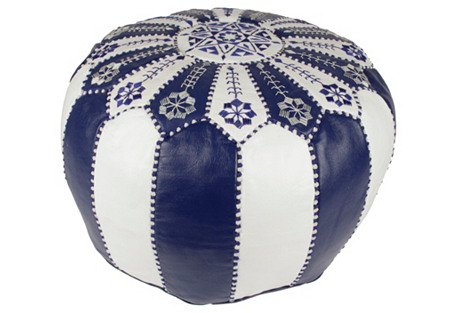 Starburst Leather Pouf, Blue/White