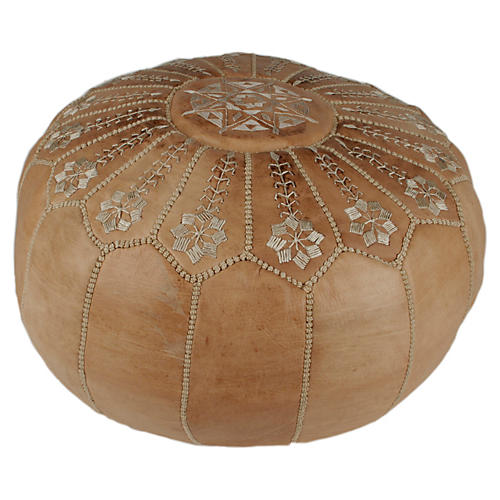 Starburst Leather Pouf, Natural Desert