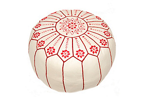Starburst Leather Pouf, White/Red*