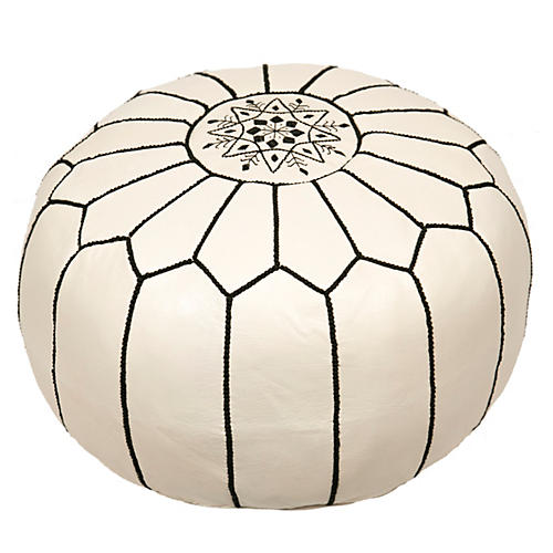 Embroidered Leather Pouf, White/Black