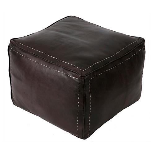 Square Leather Pouf, Dark Brown