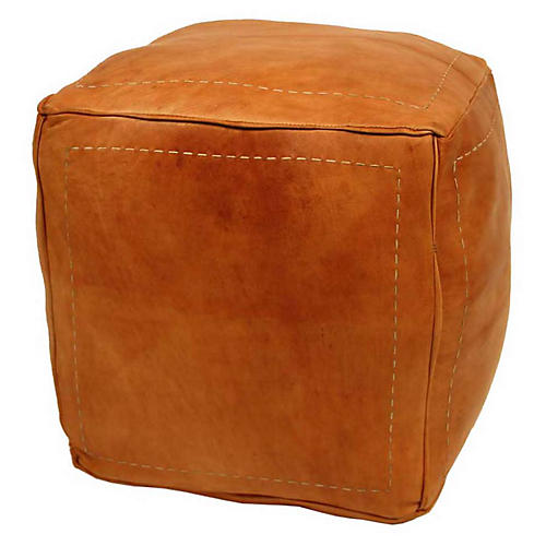 Contemporary Moroccan Leather Pouf, Tan