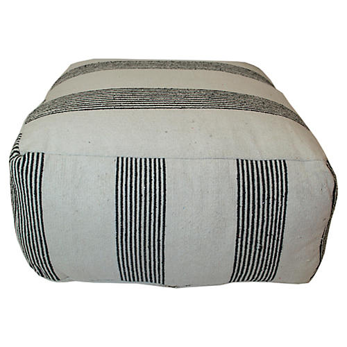 Moroccan Striped Pouf, Black/White