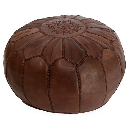 Embroidered Leather Pouf, Java