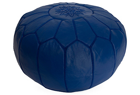 Embroidered Leather Pouf, Majorelle Blue