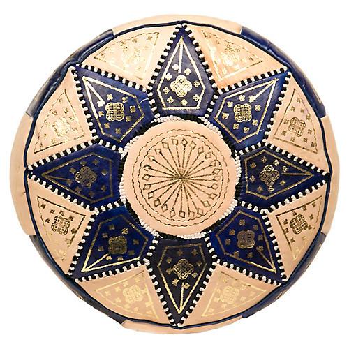 Marrakech Leather Pouf, Dark Blue