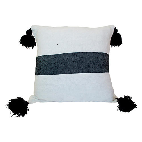 Moroccan 23x23 Pillow, Black/White