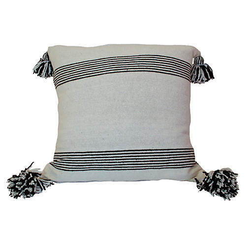 Moroccan 23x23 Pillow, White/Black