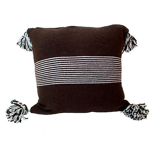 Moroccan 23x23 Pillow, White/Brown
