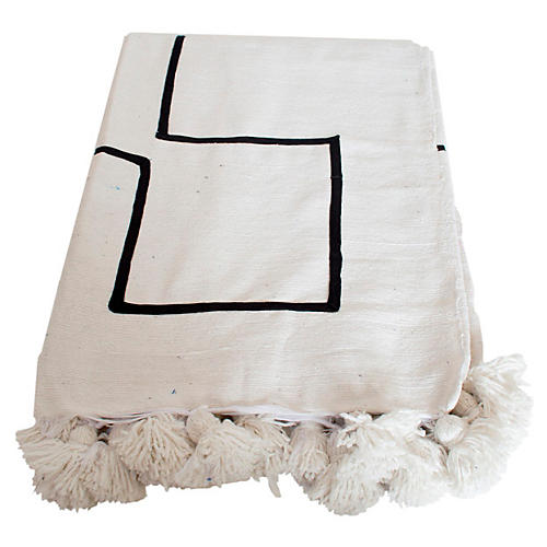 Moroccan Pom-Pom Blanket, White/Black