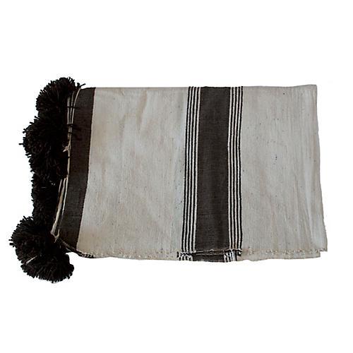 Moroccan Pom-Pom Blanket, Black