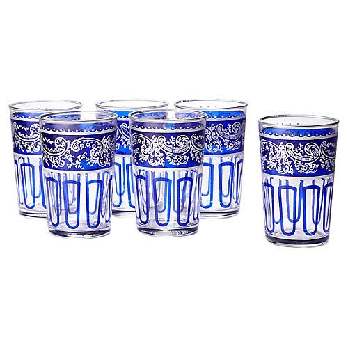 S/6 Essaouira Tea Glasses, Blue/Silver