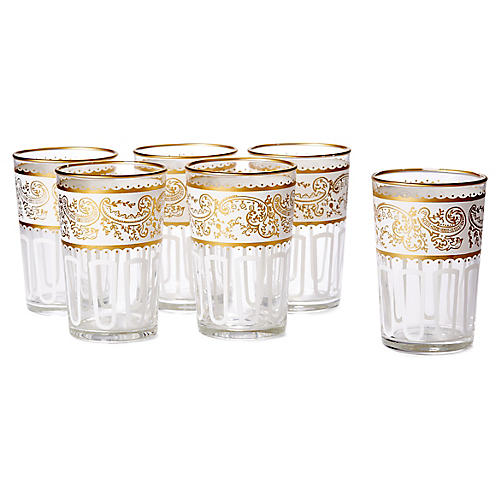S/6 Essaouira Tea Glasses, White/Gold