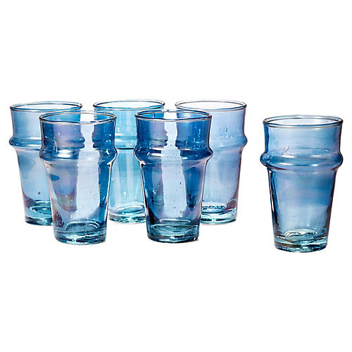 S/6 Beldi Tea Glasses, Blue