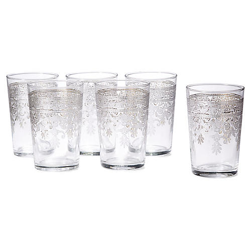 S/6 Rosaly Relief Tea Glasses, Clear/Silver