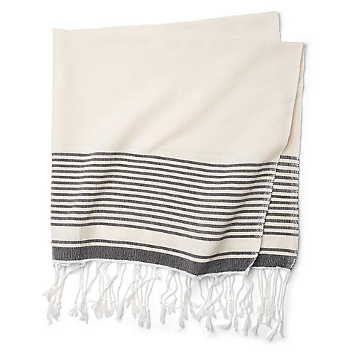 Moroccan Cotton Throw, Taupe/Black