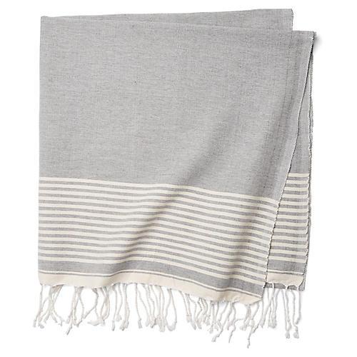 Moroccan Cotton Throw, Gray/White