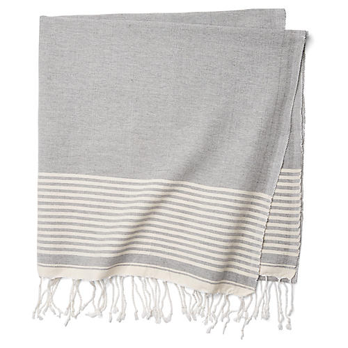 Moroccan Cotton Throw, Gray/White