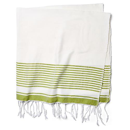 Moroccan Cotton Throw, White/Green