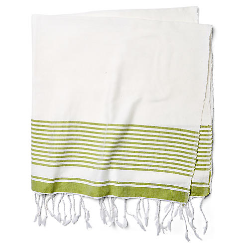 Moroccan Cotton Throw, White/Green