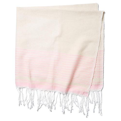 Moroccan Cotton Throw, Beige/Pink