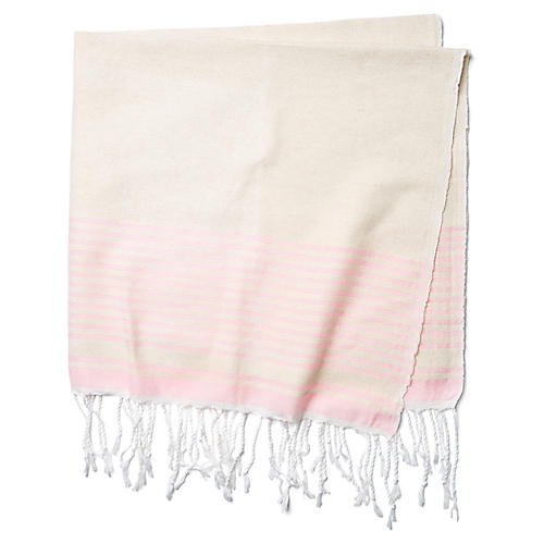Moroccan Cotton Throw, Beige/Pink