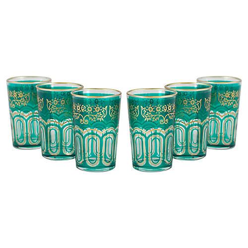 S/6 Charlize Tea Glasses, Emerald Green/Gold